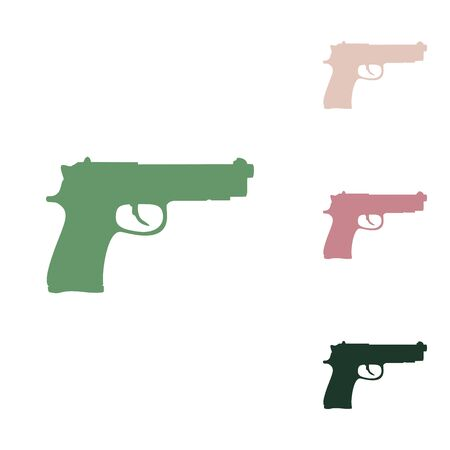 Gun sign illustration. Russian green icon with small jungle green, puce and desert sand ones on white background. Stock Illustratie
