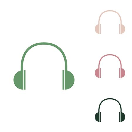 Headphones sign illustration. Russian green icon with small jungle green, puce and desert sand ones on white background.