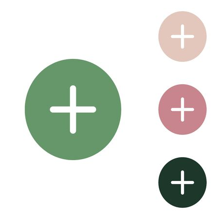 Positive symbol plus sign. Russian green icon with small jungle green, puce and desert sand ones on white background.