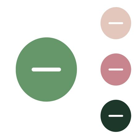 Negative symbol illustration. Minus sign. Russian green icon with small jungle green, puce and desert sand ones on white background. 矢量图像