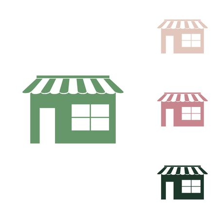 Store sign illustration. Russian green icon with small jungle green, puce and desert sand ones on white background.