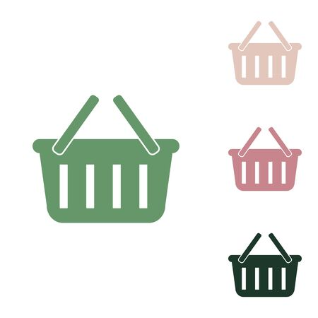 Shopping basket sign. Russian green icon with small jungle green, puce and desert sand ones on white background.
