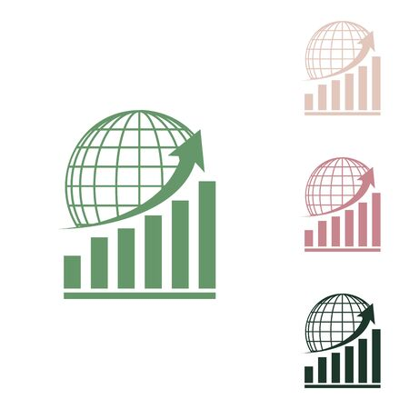 Growing graph with earth. Russian green icon with small jungle green, puce and desert sand ones on white background.