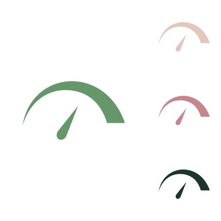 Speedometer sign illustration. Russian green icon with small jungle green, puce and desert sand ones on white background.