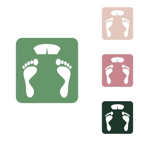 Bathroom scale sign. Russian green icon with small jungle green, puce and desert sand ones on white background.