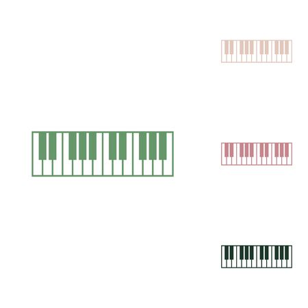Piano Keyboard sign. Russian green icon with small jungle green, puce and desert sand ones on white background.