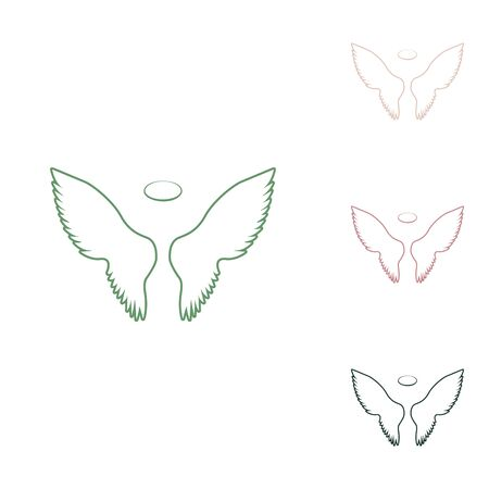 Wings sign illustration. Russian green icon with small jungle green, puce and desert sand ones on white background.