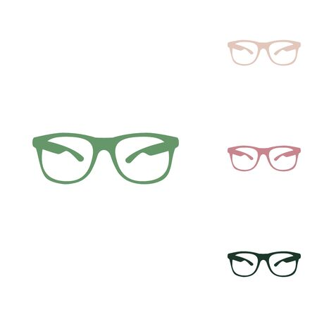 Sunglasses sign illustration. Russian green icon with small jungle green, puce and desert sand ones on white background. Vektoros illusztráció