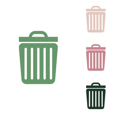 Trash sign illustration. Russian green icon with small jungle green, puce and desert sand ones on white background.
