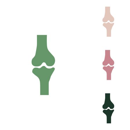 Knee joint sign. Russian green icon with small jungle green, puce and desert sand ones on white background.