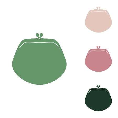 Purse sign illustration. Russian green icon with small jungle green, puce and desert sand ones on white background.
