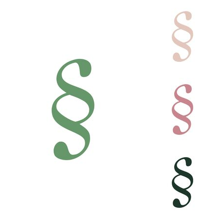 Paragraph sign illustration. Russian green icon with small jungle green, puce and desert sand ones on white background.