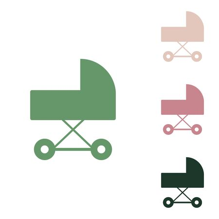 Pram sign illustration. Russian green icon with small jungle green, puce and desert sand ones on white background. Vettoriali