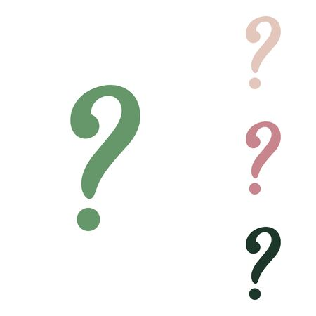 Question mark sign. Russian green icon with small jungle green, puce and desert sand ones on white background. 矢量图像