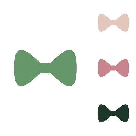Bow Tie icon. Russian green icon with small jungle green, puce and desert sand ones on white background.