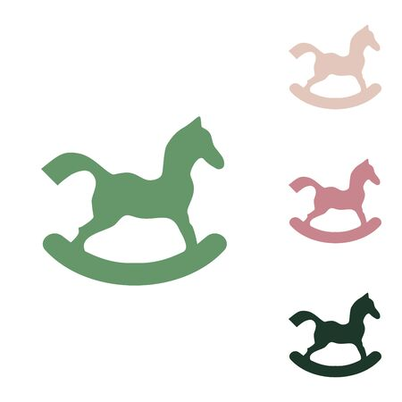 Horse toy sign. Russian green icon with small jungle green, puce and desert sand ones on white background.