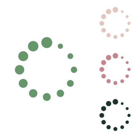 Circular loading sign. Russian green icon with small jungle green, puce and desert sand ones on white background.