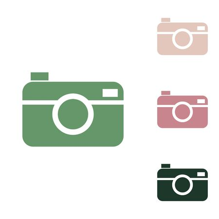 Digital photo camera sign. Russian green icon with small jungle green, puce and desert sand ones on white background. 일러스트
