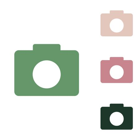 Digital camera sign. Russian green icon with small jungle green, puce and desert sand ones on white background.