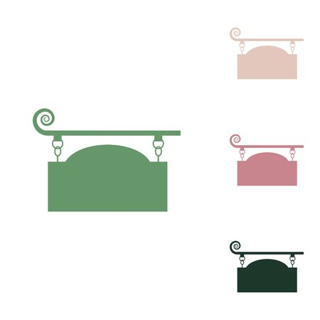 Wrought iron sign for old-fashioned design. Russian green icon with small jungle green, puce and desert sand ones on white background. Stock Illustratie