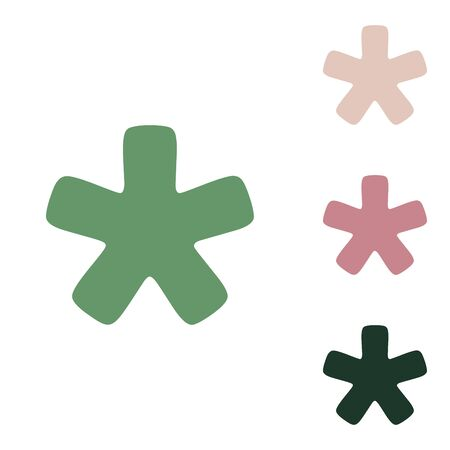 Asterisk star sign. Russian green icon with small jungle green, puce and desert sand ones on white background.