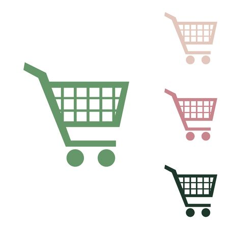Shopping cart sign. Russian green icon with small jungle green, puce and desert sand ones on white background.