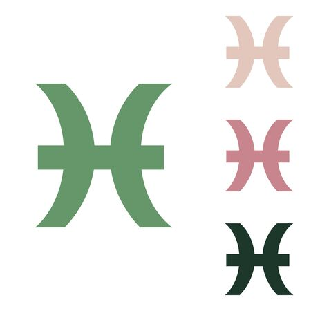 Pisces sign illustration. Russian green icon with small jungle green, puce and desert sand ones on white background.