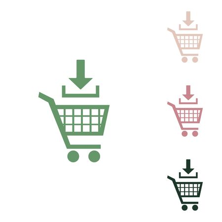 Add to Shopping cart sign. Russian green icon with small jungle green, puce and desert sand ones on white background.
