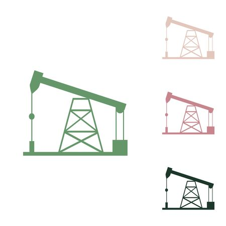 Oil drilling rig sign. Russian green icon with small jungle green, puce and desert sand ones on white background.