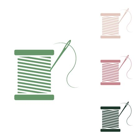 Thread with needle sign illustration. Russian green icon with small jungle green, puce and desert sand ones on white background.