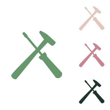 Tools sign illustration. Russian green icon with small jungle green, puce and desert sand ones on white background.