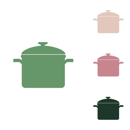 Cooking pan sign. Russian green icon with small jungle green, puce and desert sand ones on white background.