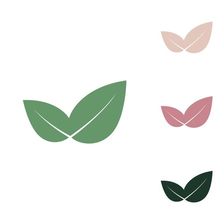 Leaf sign illustration. Russian green icon with small jungle green, puce and desert sand ones on white background. Ilustração
