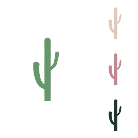 Cactus simple sign. Russian green icon with small jungle green, puce and desert sand ones on white background.