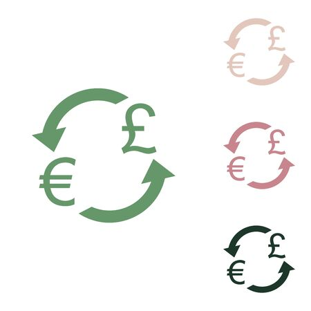 Currency exchange sign. Euro and UK Pound. Russian green icon with small jungle green, puce and desert sand ones on white background.