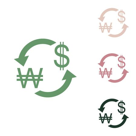 Currency exchange sign. South Korea Won and US Dollar. Russian green icon with small jungle green, puce and desert sand ones on white background.