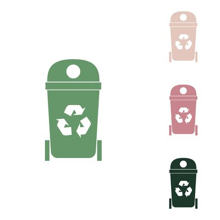 Trashcan sign illustration. Russian green icon with small jungle green, puce and desert sand ones on white background.