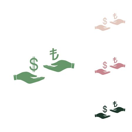 Currency exchange from hand to hand. Dollar and Turkey Lira. Russian green icon with small jungle green, puce and desert sand ones on white background.
