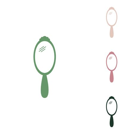 Hand Mirror sign. Russian green icon with small jungle green, puce and desert sand ones on white background.