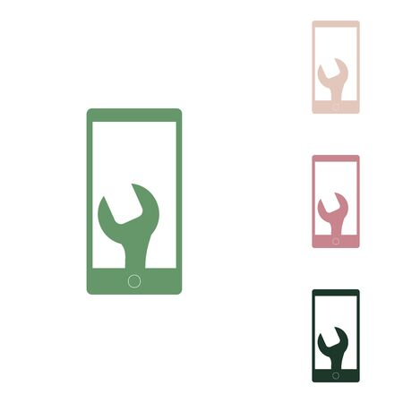 Phone icon with settings. Russian green icon with small jungle green, puce and desert sand ones on white background.