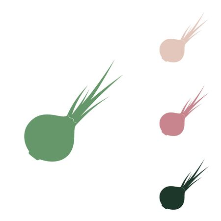 Onion sign. Salad ingredient. Healthy vegetable. Russian green icon with small jungle green, puce and desert sand ones on white background.