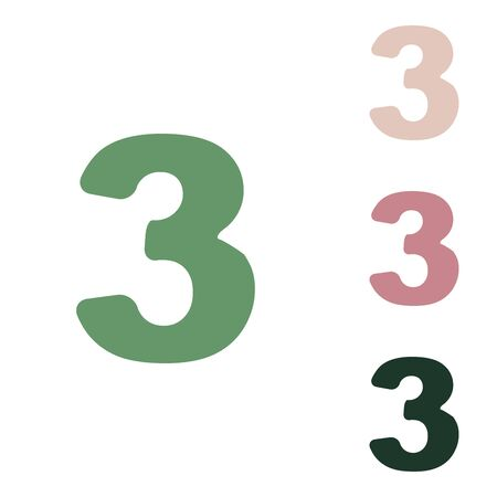 Number 3 sign design template element. Russian green icon with small jungle green, puce and desert sand ones on white background.