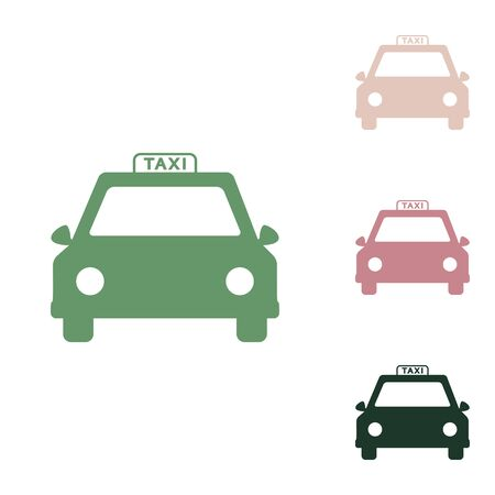 Taxi sign illustration. Russian green icon with small jungle green, puce and desert sand ones on white background. Векторная Иллюстрация