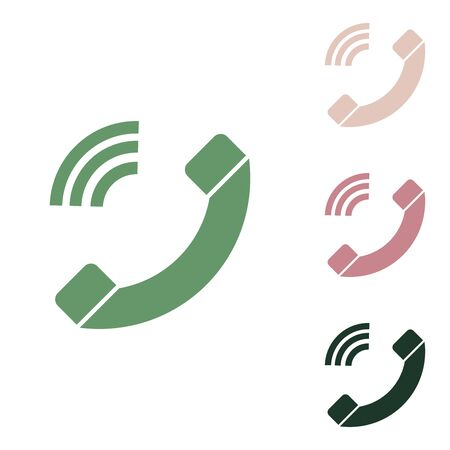 Phone sign illustration. Russian green icon with small jungle green, puce and desert sand ones on white background.