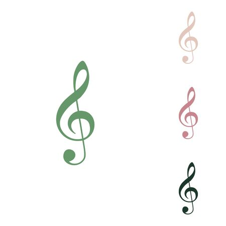 Music violin clef sign. G-clef. Treble clef. Russian green icon with small jungle green, puce and desert sand ones on white background.
