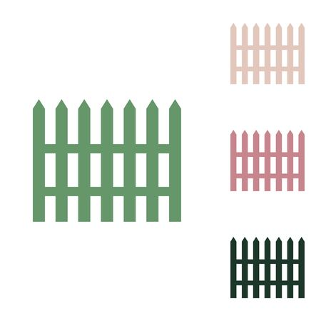 Fence simple sign. Russian green icon with small jungle green, puce and desert sand ones on white background.