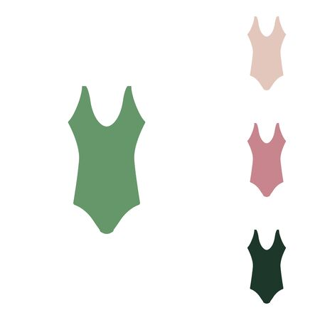 Woman's swimsuit sign. Russian green icon with small jungle green, puce and desert sand ones on white background.