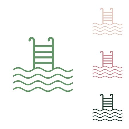Swimming Pool sign. Russian green icon with small jungle green, puce and desert sand ones on white background. Çizim
