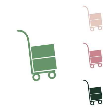 Hand truck sign. Russian green icon with small jungle green, puce and desert sand ones on white background.