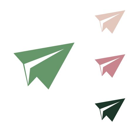 Paper airplane sign. Russian green icon with small jungle green, puce and desert sand ones on white background. Ilustracje wektorowe